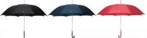 Damen-Regenschirme in schwarz, blau & rot mit Punkten