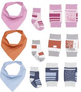 Knieschoner mit Socken und Spucktuch