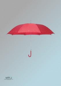 gepunkteter Regenschirm in Rot