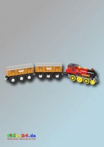 Elektrische Lokomotive mit zwei Anhängern