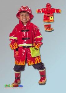 Regenjacke und Gummistiefel Feuerwehrmann