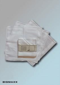 12er Pack reinweisse Damen-Taschentücher
